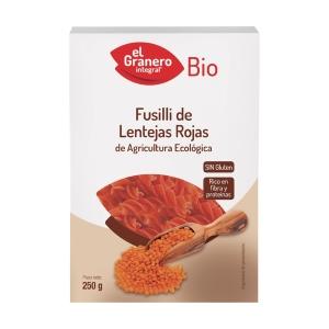 Pasta Fusilli de Lentejas Rojas Bio