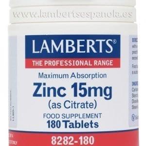 Zinc 15 mg como Citrato con mayor absorción y 180 tabletas – 180 Tabletas