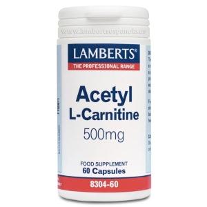 Acetil L-Carnitina 500 mg en forma Libre. Aminoácido no esencial – 60 Cápsulas