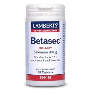 Betasec con Selenio, Vitaminas A, C, E y flavonoides de Plantas – Lamberts – 60 comprimidos