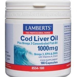 Aceite de Hígado de Bacalao 1.000 mg – Lamberts – 180 perlas