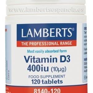 Vitamina D como D3, colecalciferol 400 UI (10 mcg) 120 pastillas – 120