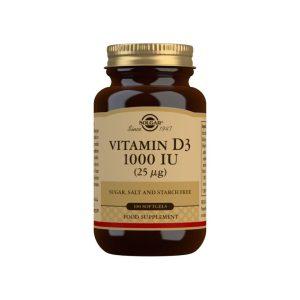 Vitamina D3 1000 UI – Aceite de Hígado de Pescado y Colecalciferol – Solgar – 100 perlas