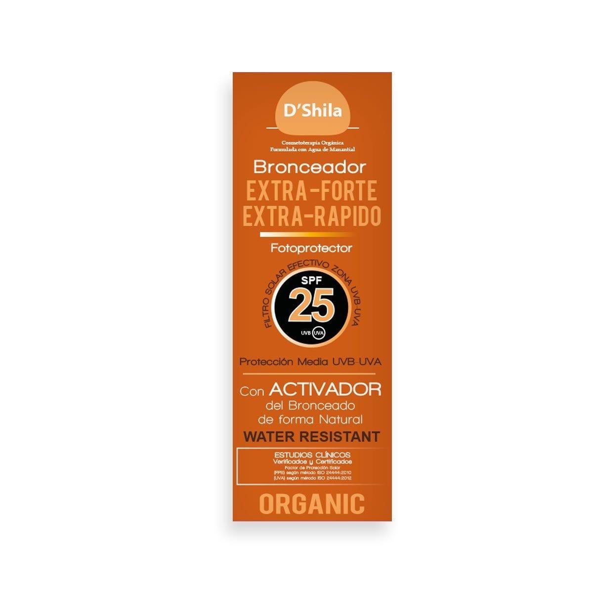 FOTOPROTECTOR BRONCEADOR SPF 25 EXTRA-FORTE EXTRA-RÁPIDO* Activador del bronceado de forma natural