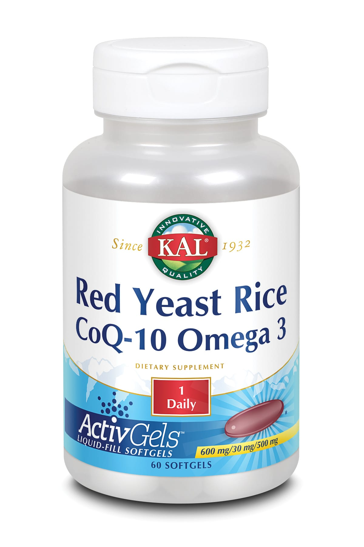 Red Yeast Rice, CoQ10 y Omega 3 – KAL – 60 perlas